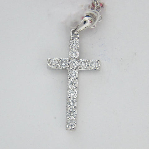 0.48ct Round Cut Diamond Cross Pendant F-G SI 18K White Gold -IDJ012941