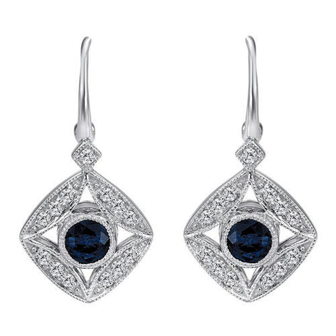 0.86CT F SI1 Sapphire and Diamond Earrings 14K White Gold -IDJ013091
