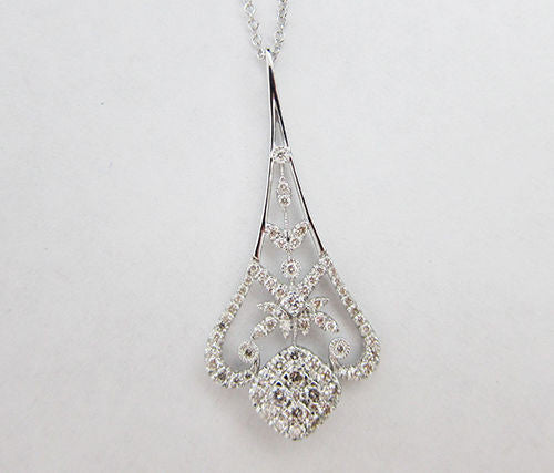 0.66CT F-G SI 14K White Gold Diamond Drop Pendant -IDJ013103