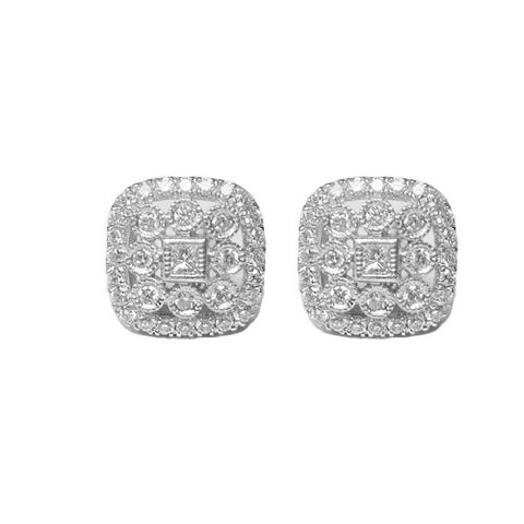 0.52CTW Antique Style 14KT White Gold Diamond Stud Earrings -IDJ013105