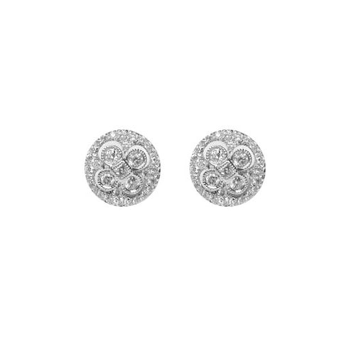 0.48CT Flower Design Diamond Stud Earrings Set In 14KT White Gold - IDJ013106
