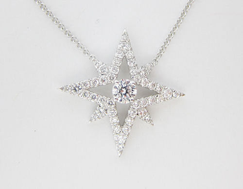 0.81CT Diamond Star Pendant In 18K White Gold - IDJ013121