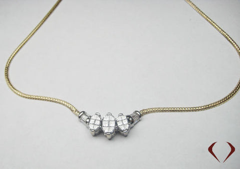 2.50CT 14K Yellow Gold Princess & Baguette Diamond Necklace - IDJ013137