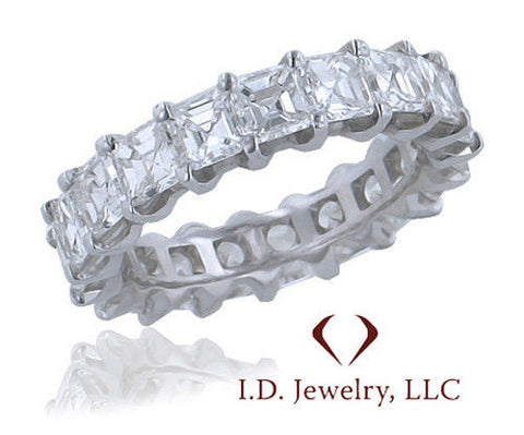 4.72CTW Asscher Cut Diamond Eternity Band in 18KT White Gold -IDJ013160
