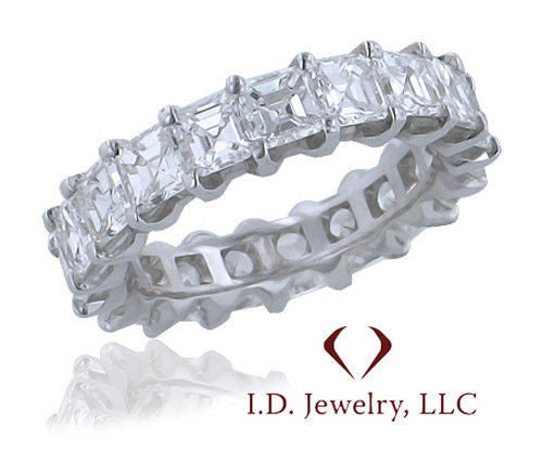 4.12CTW Asscher Cut Diamond Eternity Band in 18KT White Gold -IDJ013161