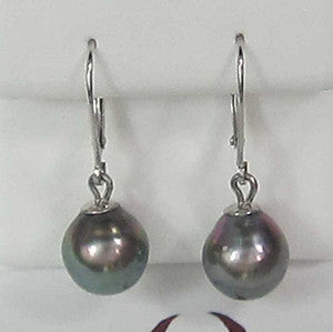 14K White Gold Black Tehitian Pearl Earrings - IDJ013162