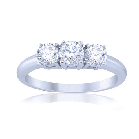 0.50CT Round 3 Stone Diamond Engagement Ring 14KT -IDJ013190