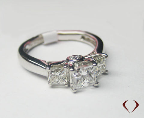 1.50CT H SI Princess 3 Stone Diamond Engagement Ring 14KT -IDJ013200
