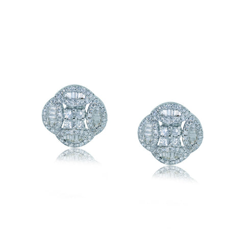 0.76CTW Diamond Earrings F SI 18K White Gold - IDJ013474