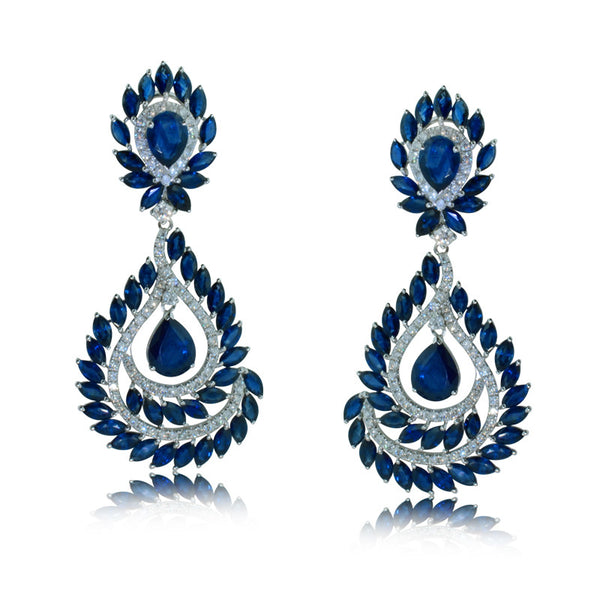 23.3CT Sapphire & Diamond Drop Earrings In 18K White Gold -IDJ013499