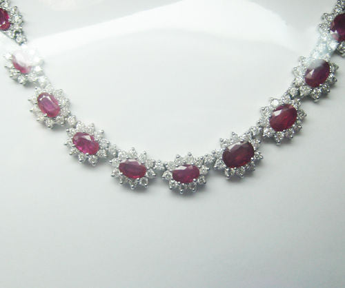 29.15CTW Ruby and Diamond Necklace in 18K White Gold F SI1 -IDJ013514