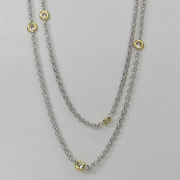 0.45CT G-H SI Diamond by the Yard Necklace Bezel Set 18K Two Tone -IDJ013520