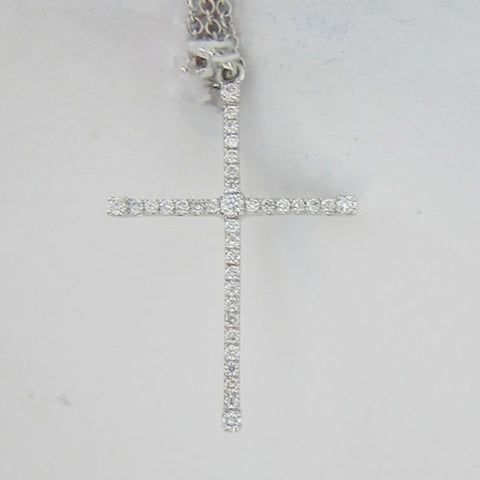 0.31ct Round Cut Diamond Cross Pendant F SI 18K White Gold -IDJ013595