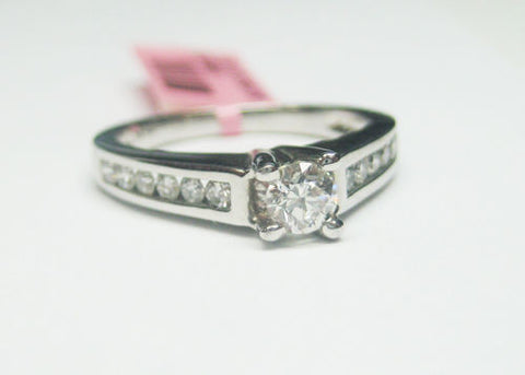 0.57CT Diamond Engagement Ring With Center Diamond 14KT White Gold -IDJ013678