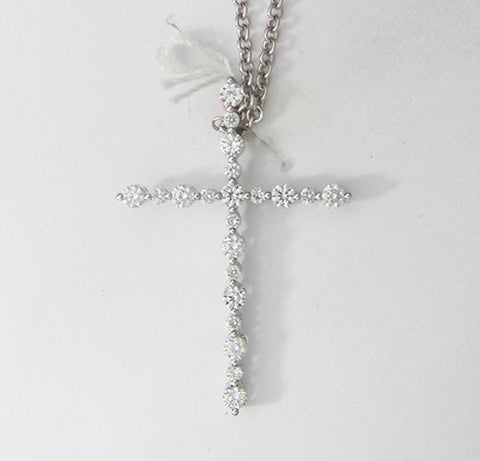 0.48CT Round Cut Diamond Cross Pendant F SI1 18K White Gold -IDJ013754