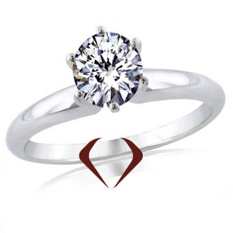 0.70CT Round Ideal Cut Diamond Solitaire Ring I SI 14K White Gold -IDJ013879