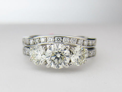 2.05 CT 3 Stone Diamond Bridal Ring Set H VS2 14K White Gold -IDJ014080