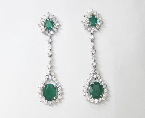 9.54CT Emerald and Diamond Hanging Earrings F SI1 in 18K White Gold -IDJ014165