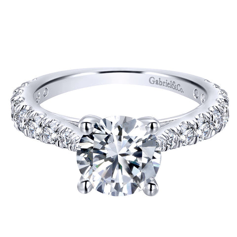 Gabriel&CO 0.81CT Pave Diamond Engagement Ring Setting In 14K White Gold - IDJ014213