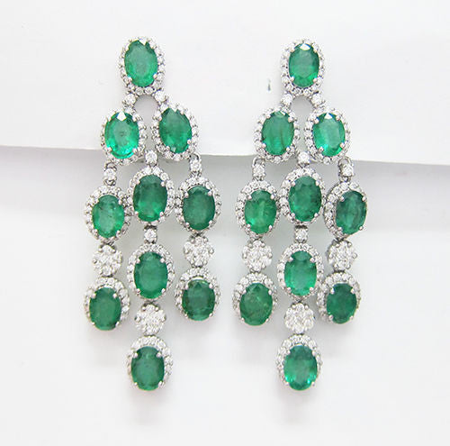17.04CT Emerald and Diamond Chandelier Earrings F SI1 in 18K White Gold -IDJ014327