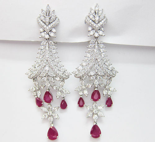 12.04CT Ruby and Diamond Dangling Earrings F SI 18K White Gold -IDJ014332