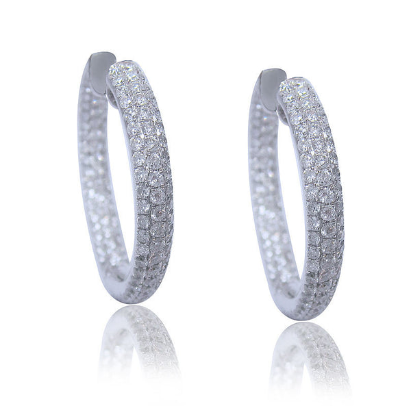 4.06CT Diamond Hoop Earrings F SI1 in 18K White Gold -IDJ014343