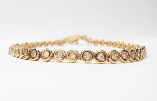 0.85CT 18K Rose Gold F SI1 Round Cut Diamond Tennis Bezel set Bracelet 7 1/4