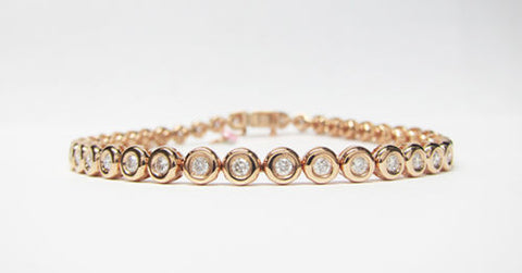 1.30CT F SI1 Round Cut Diamond Tennis Bracelet Bezel Set 18K Rose Gold -IDJ014383
