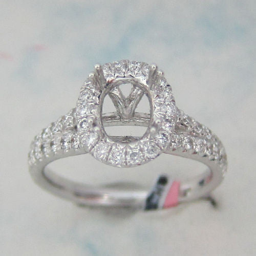 0.79ct Round Cut Diamond Oval Halo Engagement Setting 18K White Gold - IDJ014467