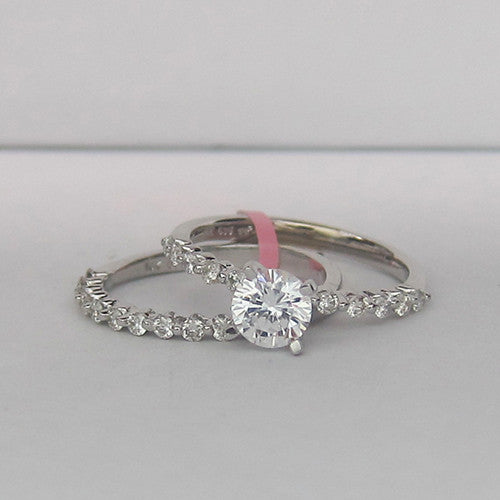 0.49CT Diamond Engagement Ring Setting With Matching Wedding Band In 14K White Gold - IDJ014544