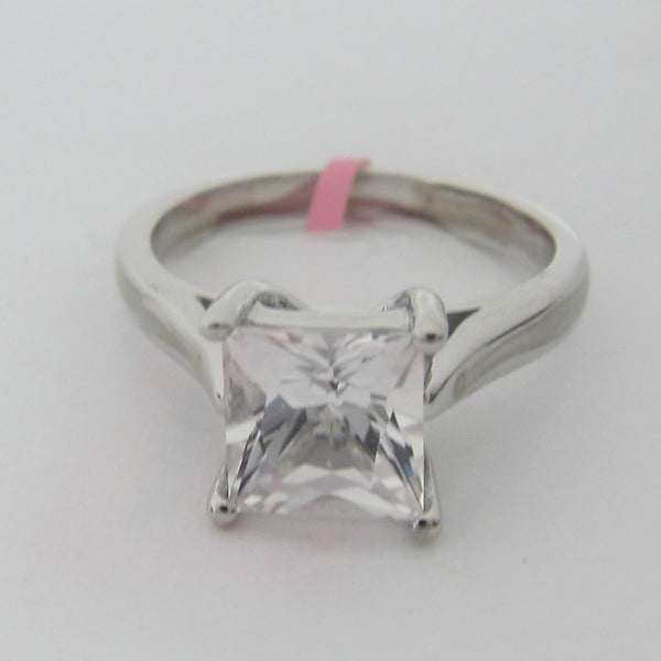 Solitaire Setting With Princess Cut CZ Center Stone in 14KT White Gold -IDJ014553