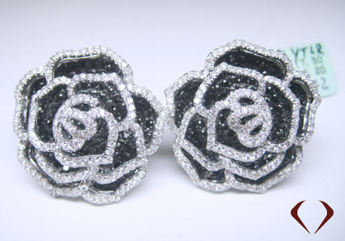 1 inch 5.20CTW F VS Black and White Diamond Flower Earrings 18K White Gold -IDJ014634