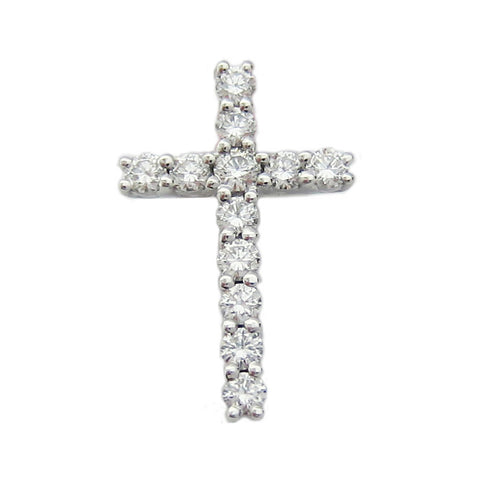0.41ct Round Cut Diamond Cross Pendant F SI 18K White Gold - IDJ014906