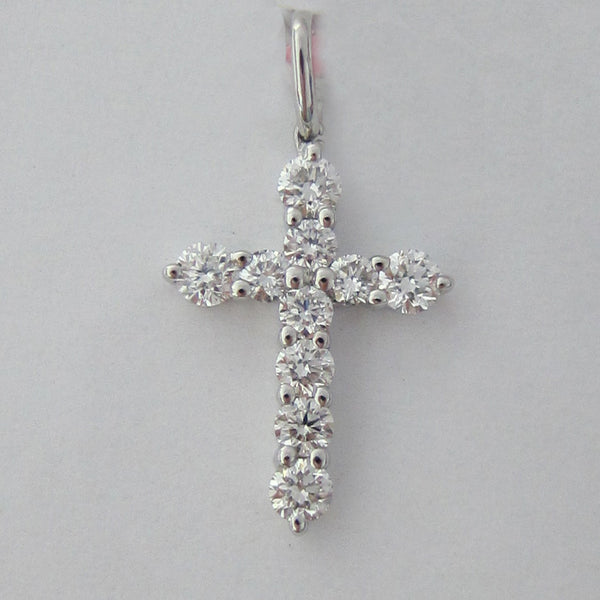 0.59ct Round Cut Diamond Cross Pendant F SI 18K White Gold - IDJ014962