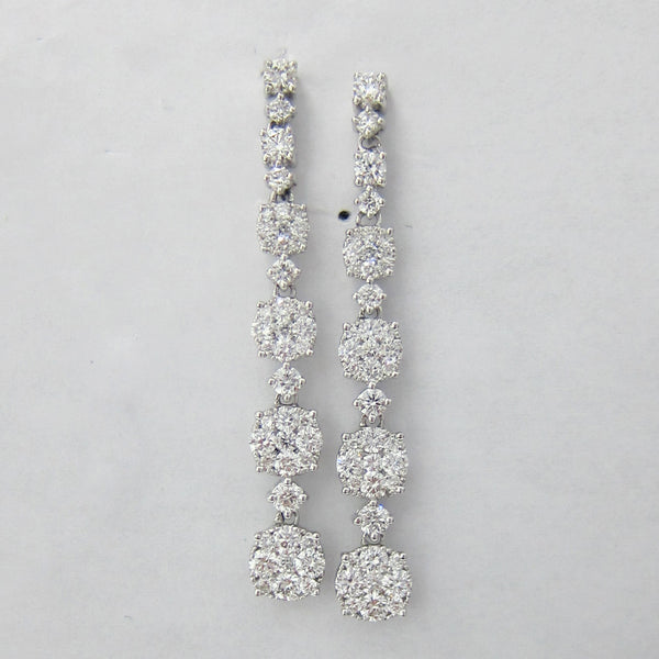 1.93CT Cluster Diamond Drop Earrings F SI 18K White Gold - IDJ014977
