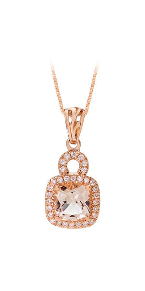 3.15CT Cushion Morganite and Diamond Halo Pendant 14K Rose Gold -IDJ015110