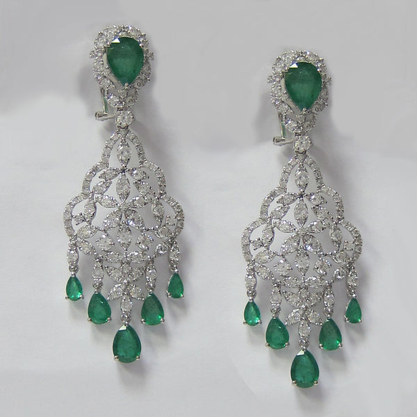10.50 CT Emerald and Diamond Chandelier Earrings in 18K White Gold -IDJ015185