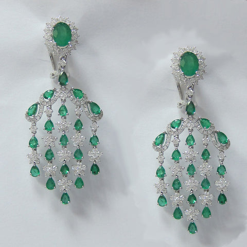 10.80 CT Emerald and Diamond Chandelier Earrings in 18K White Gold -IDJ015190