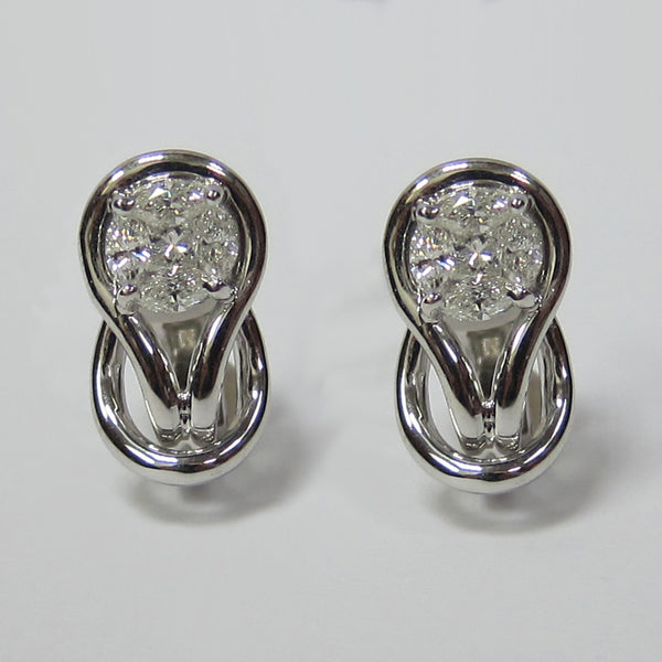 0.76CT Diamond Cluster Fashion Earrings 18K White Gold -IDJ015193