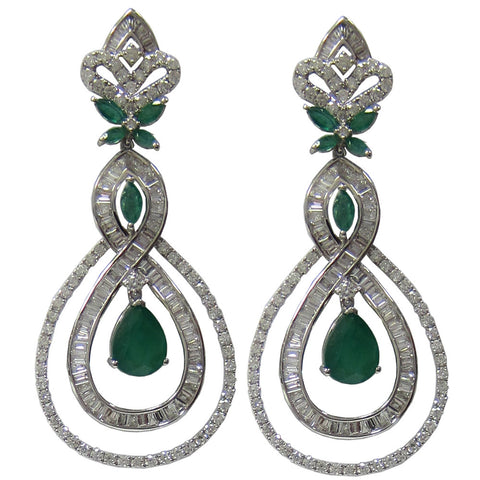 12.74 CT Emerald and Diamond Drop Earrings in 18K White Gold F SI1 -IDJ015209
