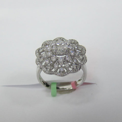 1.35CT Cocktail Diamond Ring F SI 18K White Gold -IDJ015210