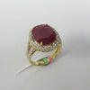 6.63 CT Oval Ruby and Diamond Ring F SI1 18K Yellow Gold -IDJ015226
