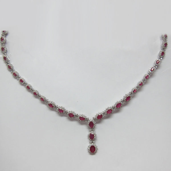 22.65CT F SI Ruby and Halo Diamond Graduated Fashion Necklace 18K White Gold -IDJ015234