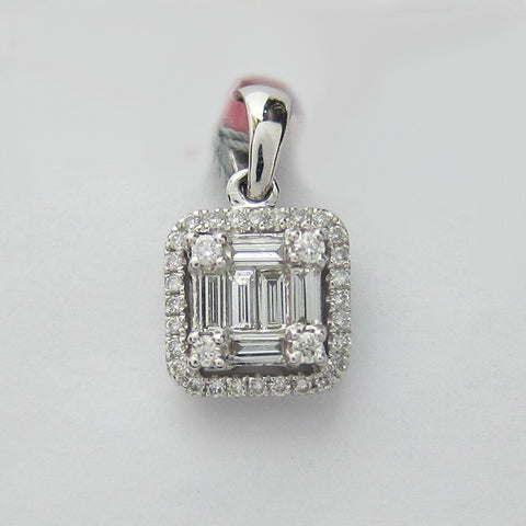0.42CT F SI Baguette and Round Cut Diamond Pendant 18K White Gold -IDJ015270