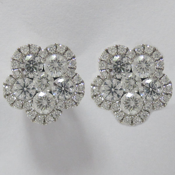 2.15CT F SI1 18K White Gold Cluster Diamond Earrings -IDJ015301
