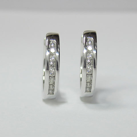 0.15CT Diamond Huggie Earrings F SI1 in 10K White Gold -IDJ015467