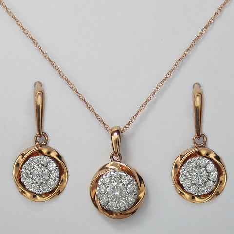 0.65CT F SI Matching set of Diamond Earrings & Pendant 10K Rose Gold -IDJ015478