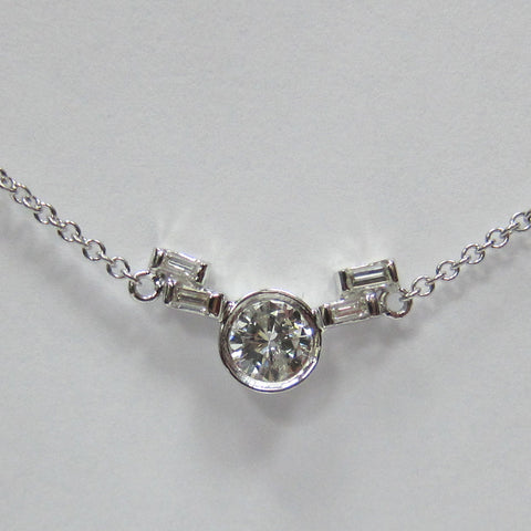 1.35 CT F G VS I1 Diamond Necklace 14K White Gold 16 inches -IDJ015546