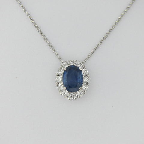 1.75CT Sapphire & Diamond Pendant 18KT White Gold With 16'' Chain - IDJ015597