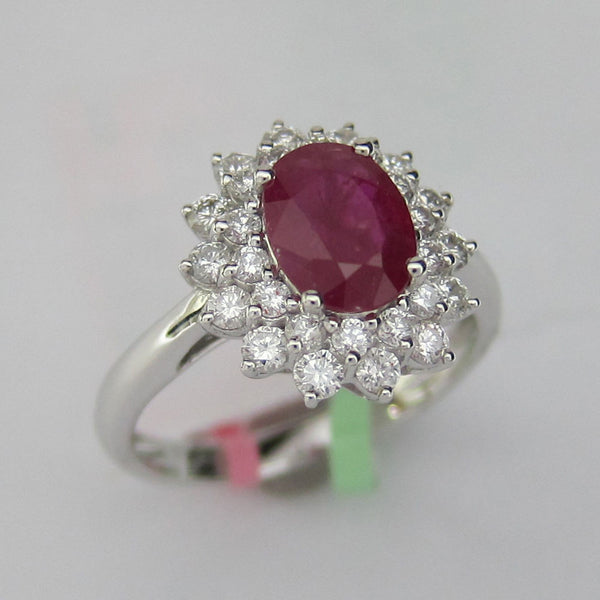 2.10 CT Ruby and Diamond Ring in 18K White Gold